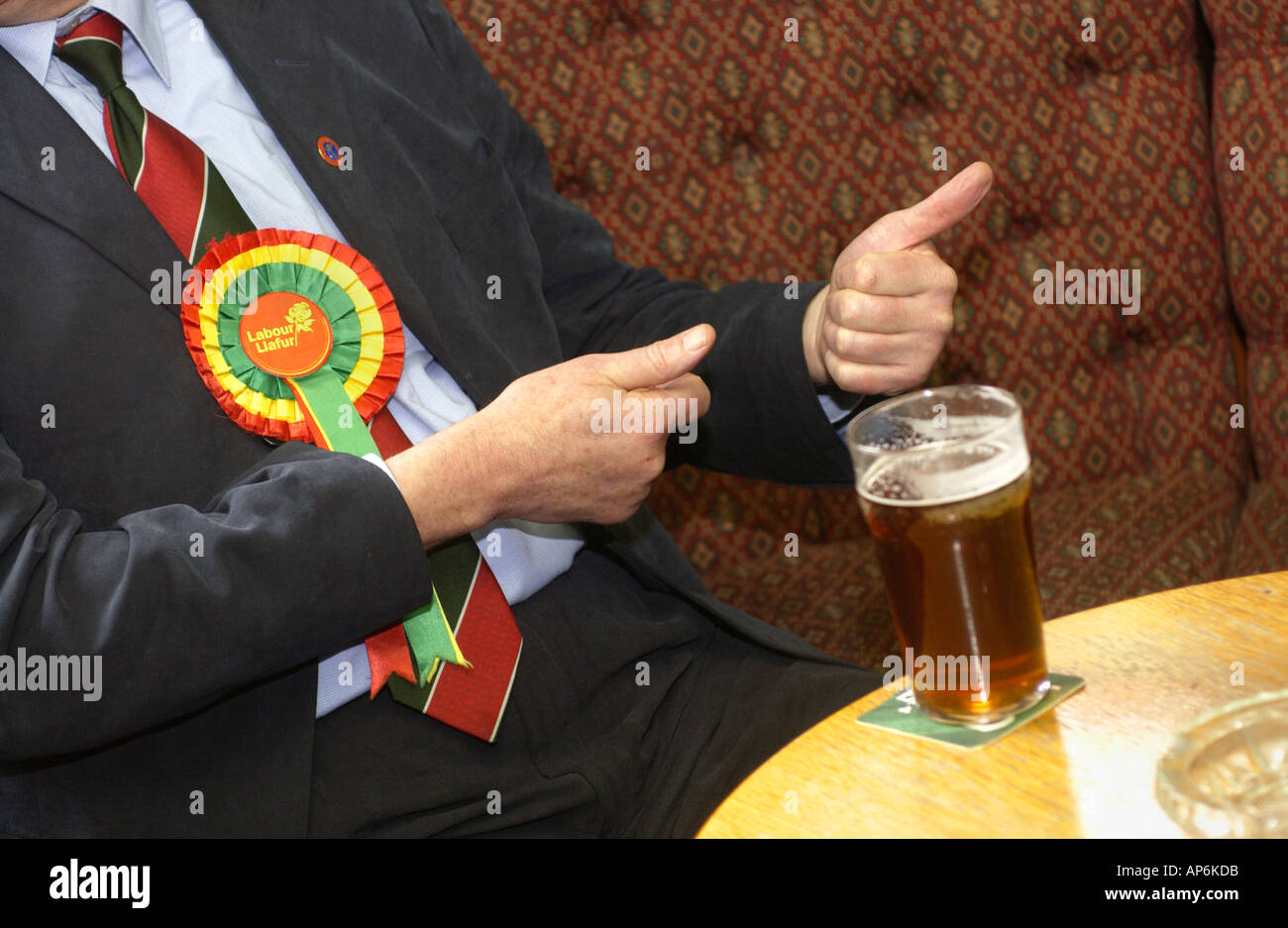 Labour Party supporter wearing rosette with beer on the table at a working mans club in South Wales UK - Stock Image