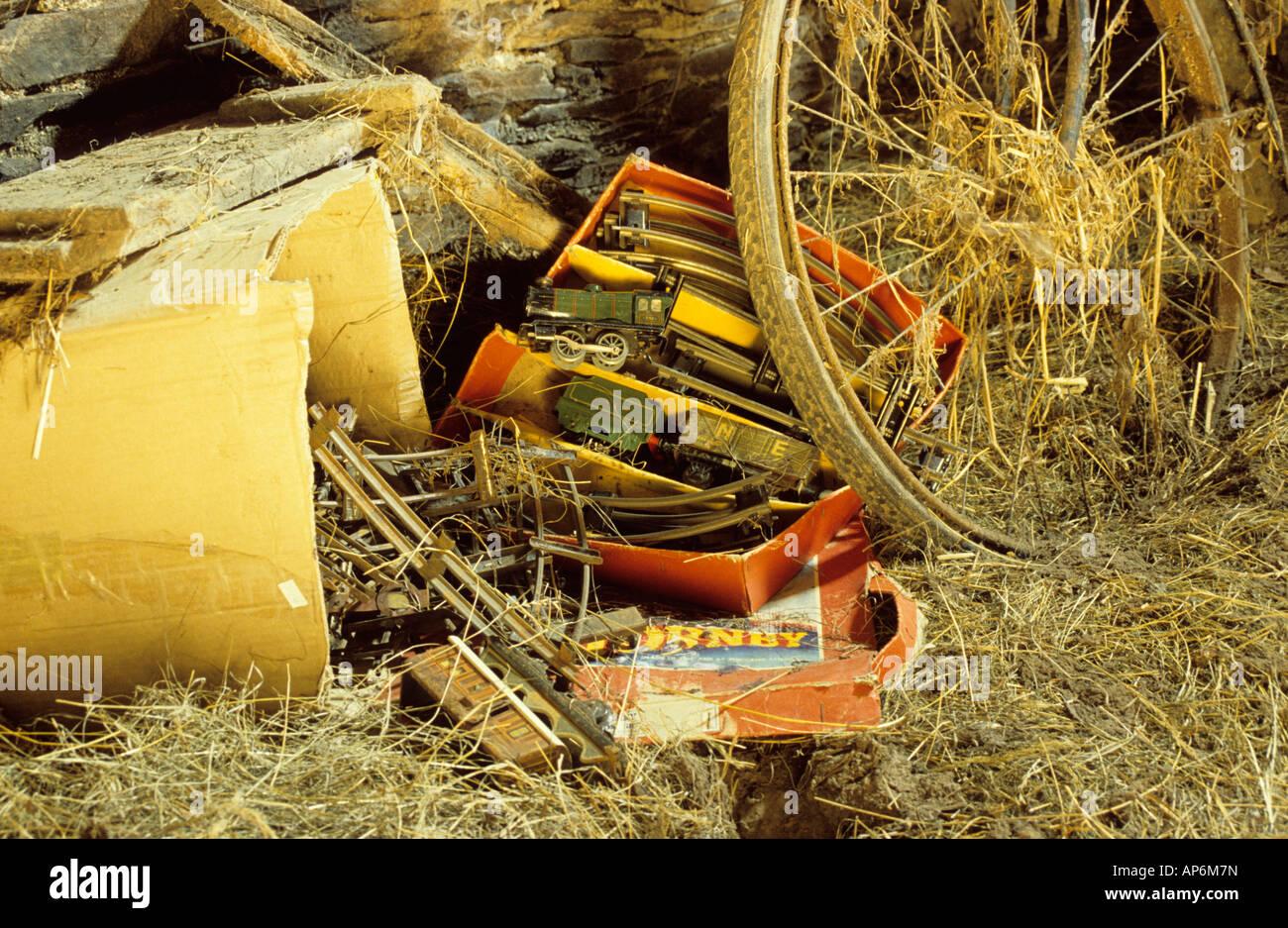 Old Hornby gauge 0 train set found in barn, UK. - Stock Image