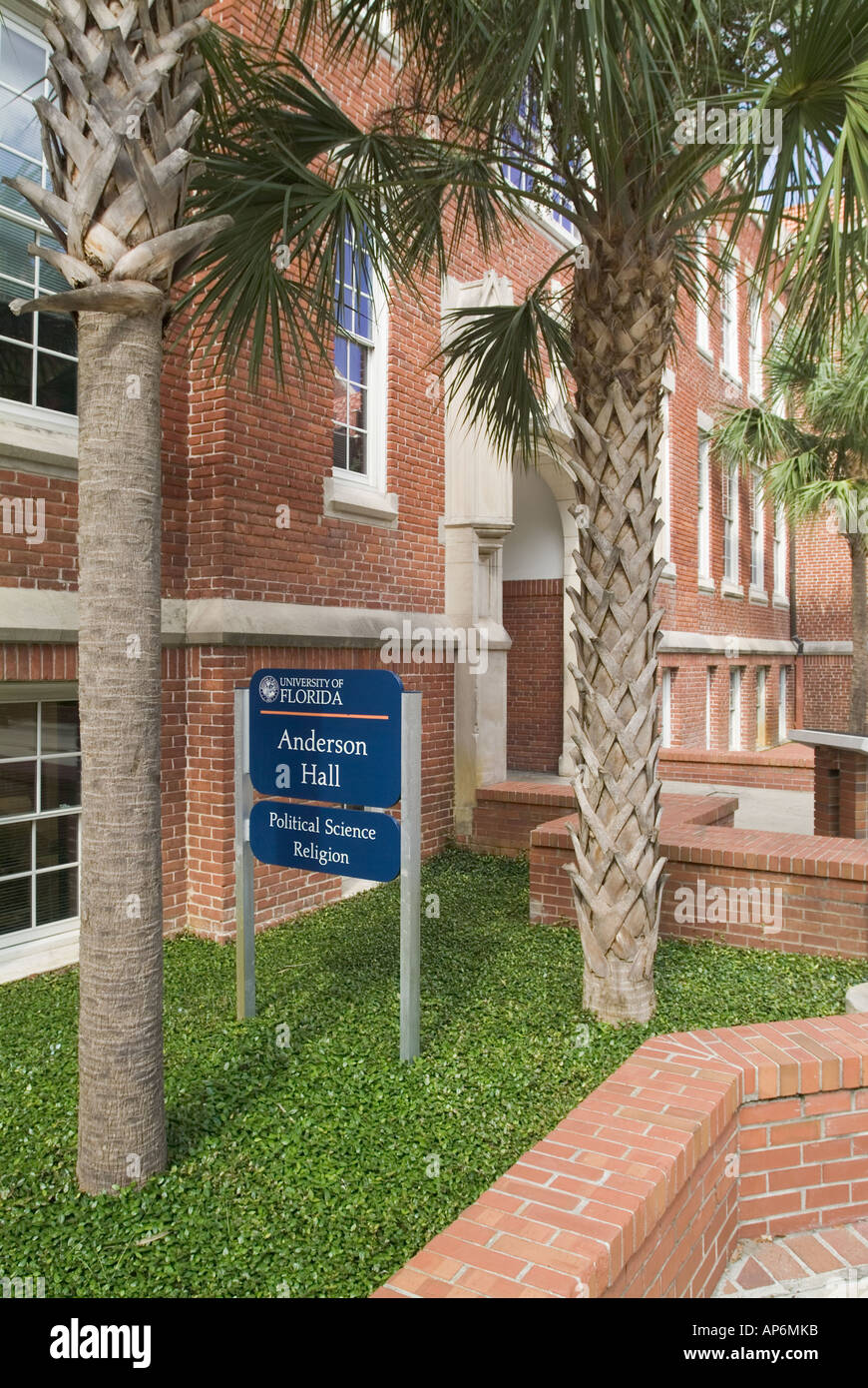 University of Florida campus Gainesville FL college school Anderson Hall building political science religion - Stock Image