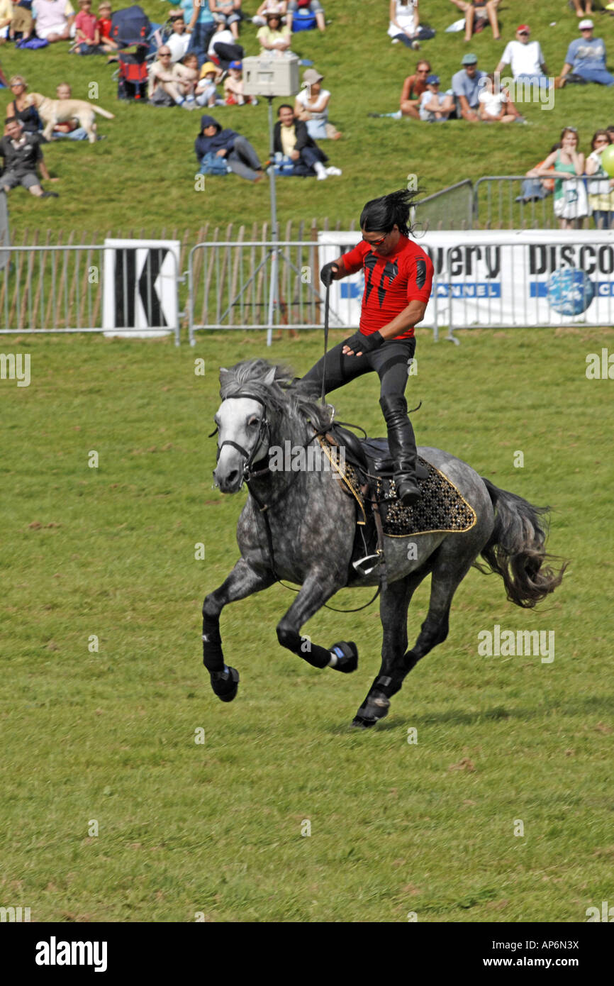 Russian Cossack Horse riding display at a public event - Stock Image
