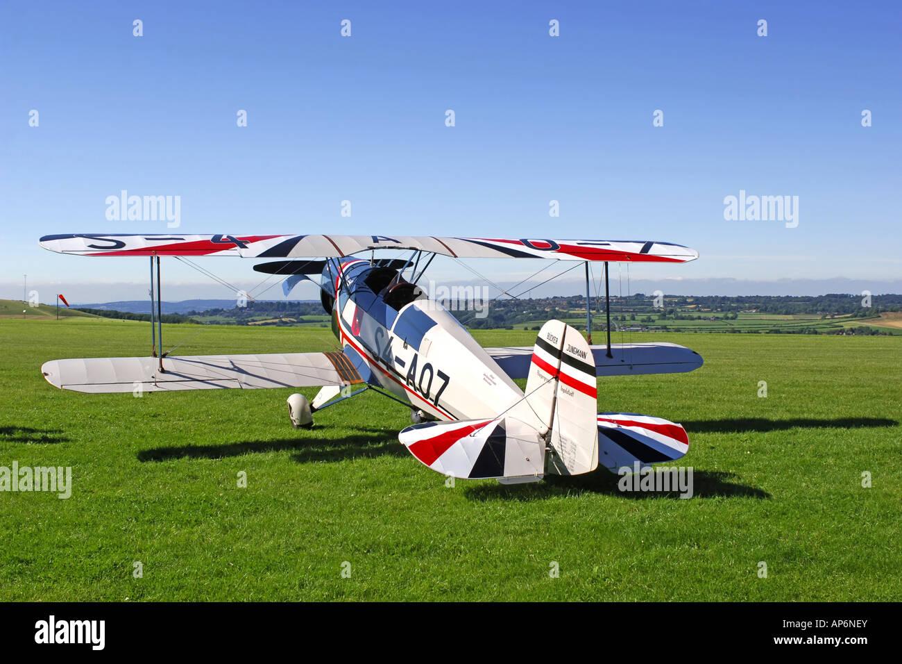 S4 A07 Buccker Jungmann 1930s German bi plane at a weekend flying - Stock Image