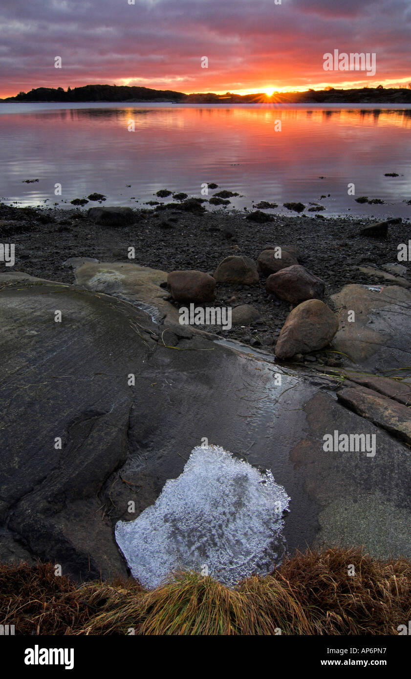 Sunset At The Coast Amundön Sweden Stock Photo 8967894 Alamy
