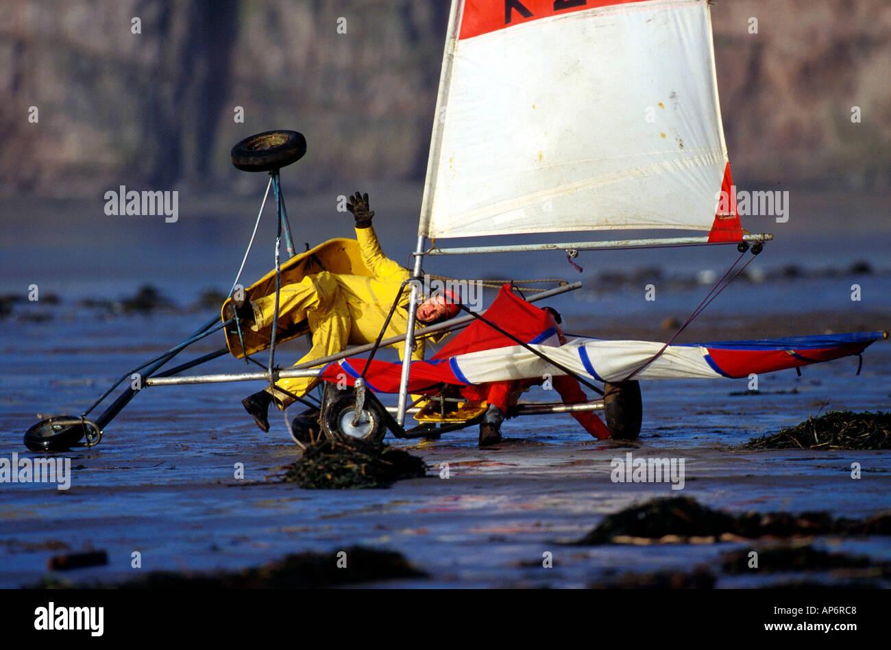 Land Yachting crash - Stock Image