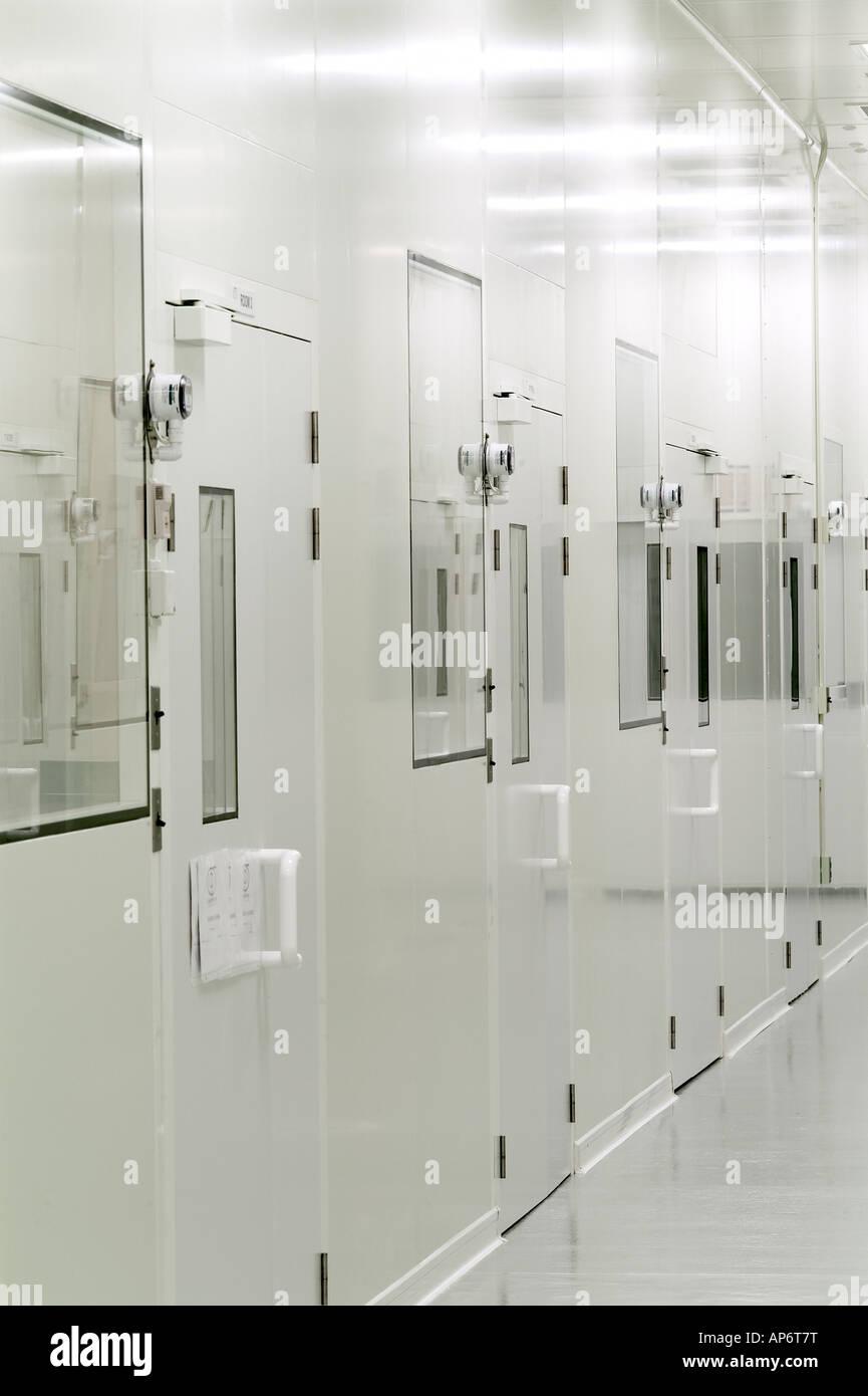 Pharmaceutical Biotech Sterile Clean Room Hallway, Philadelphia, USA - Stock Image
