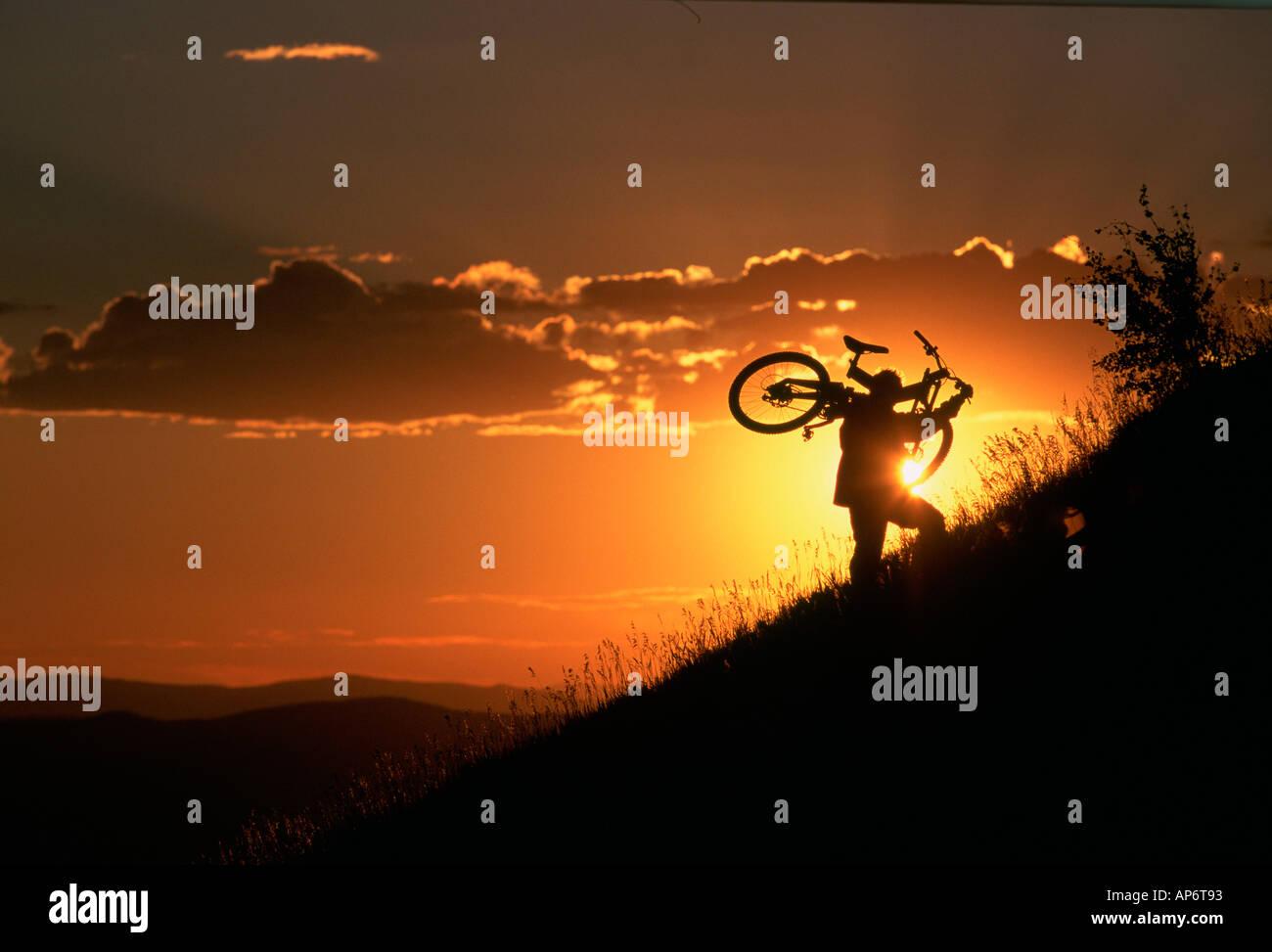 Mountain biker carrying bike uphill at dusk, Colorado, USA - Stock Image