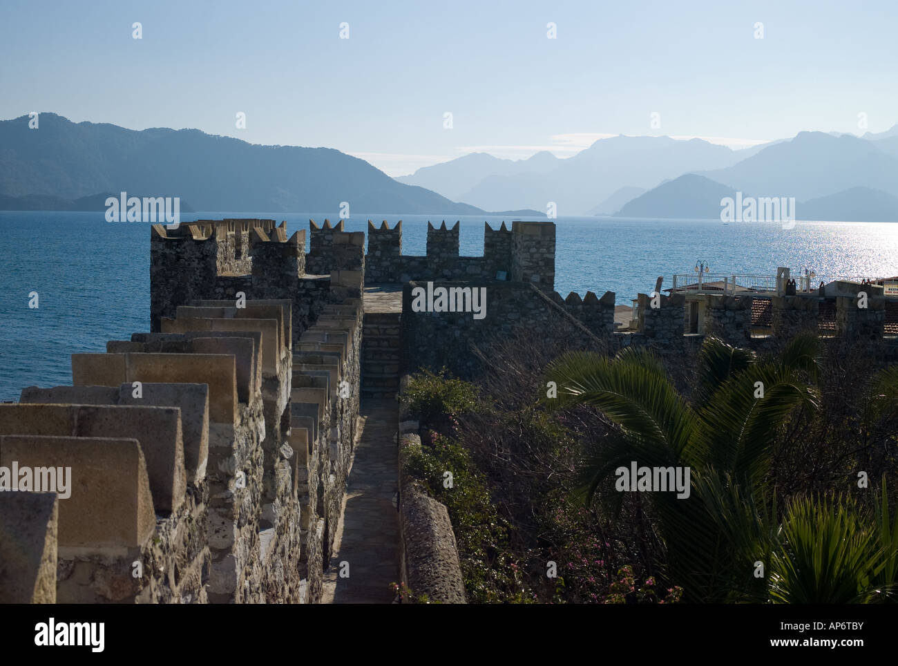 Turkey the Marmaris bay and fiord seen by the Solimano castle - Stock Image