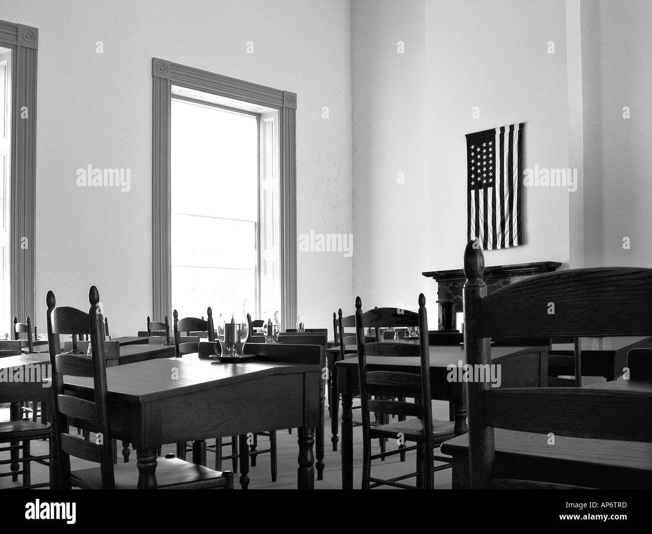 reproduction schoolroom with antique desks Stock Photo
