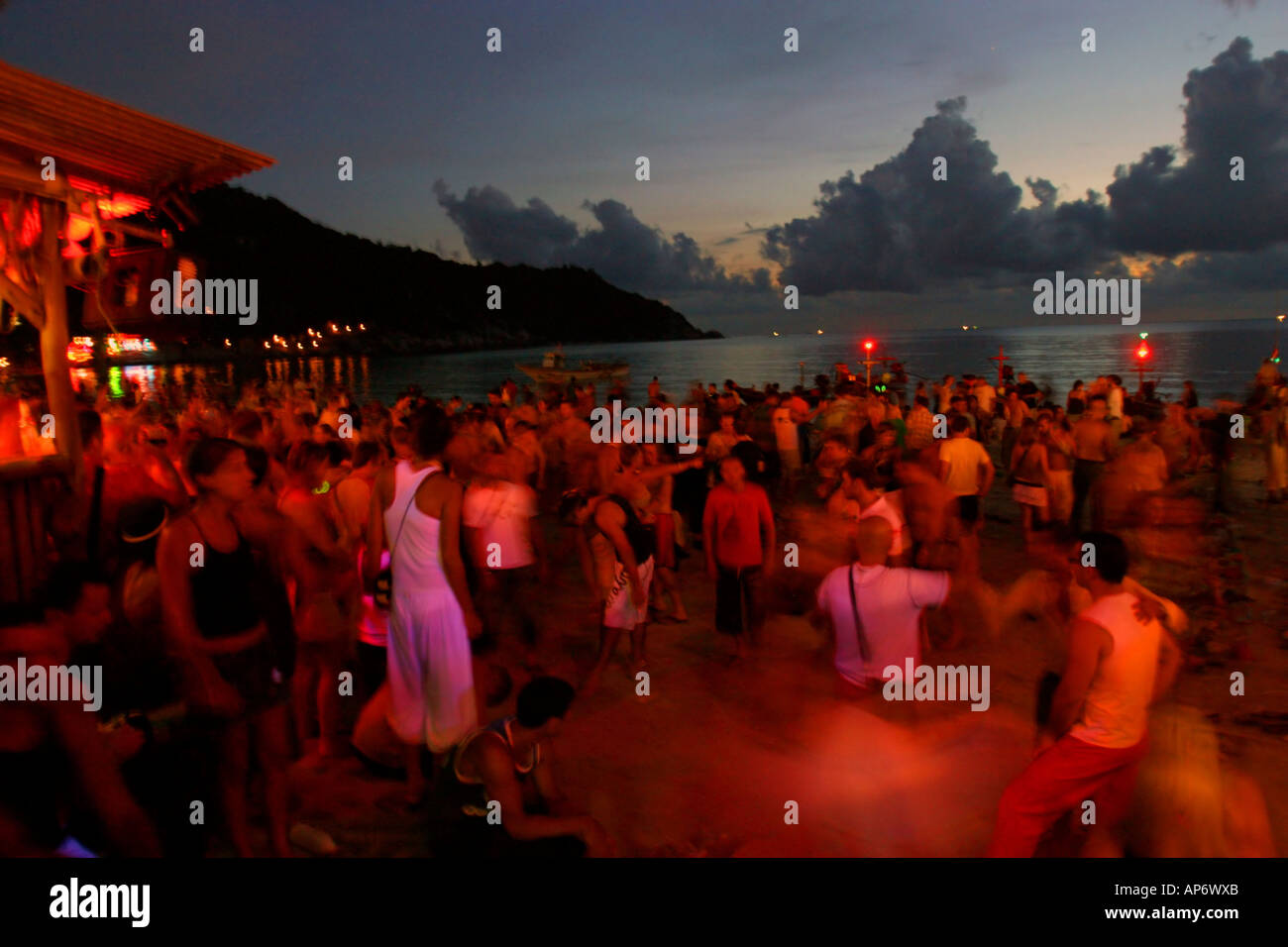 sun rise over the Full moon party at Koh Phangan Thailand - Stock Image