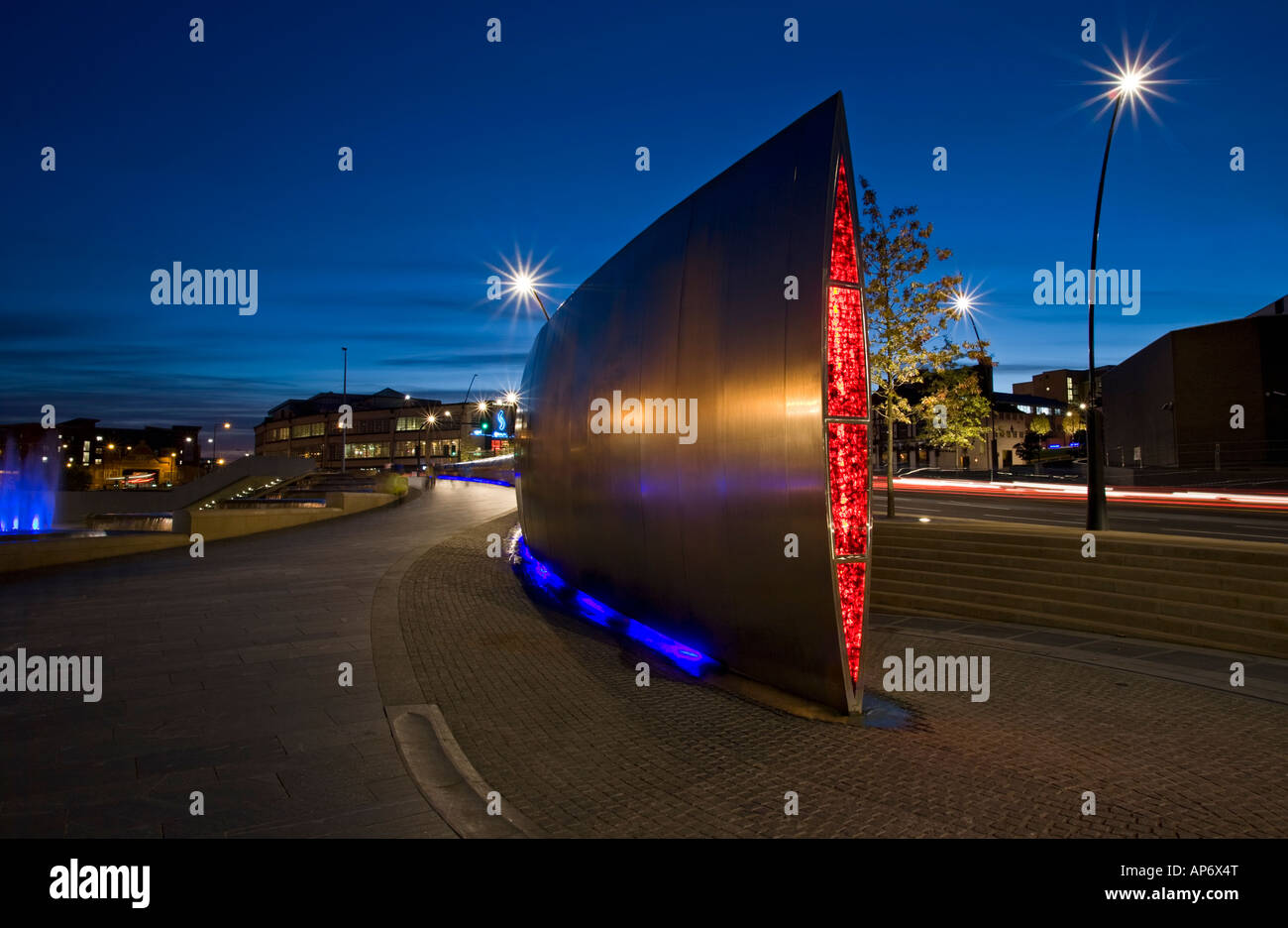 Sheffield England UK - The Cutting Edge modern art steel sculpture in Sheaf Square - Stock Image
