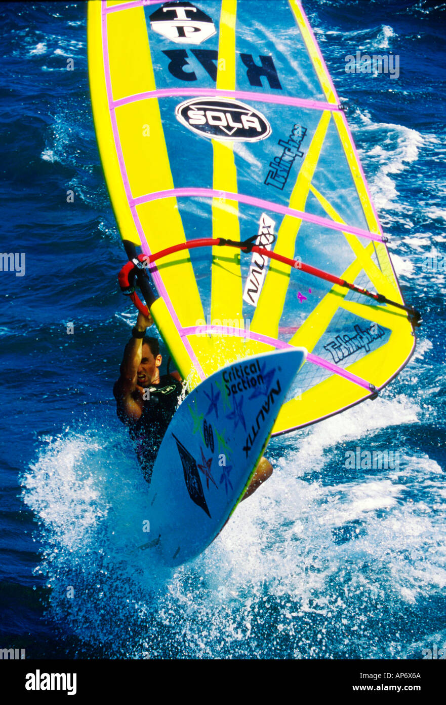 Nigel Howell windsurfing in Tenerife the Canary Islands Spain - Stock Image