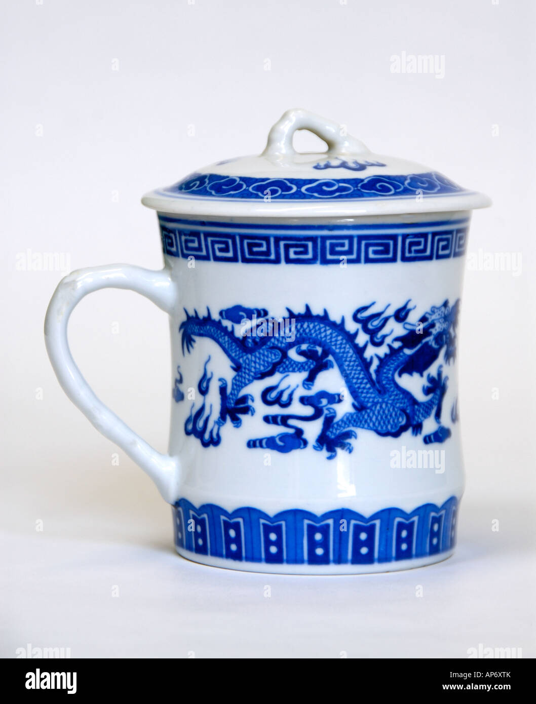 Chinese Ceramic Tea Cup With Lid Colour White With Blue Dragon