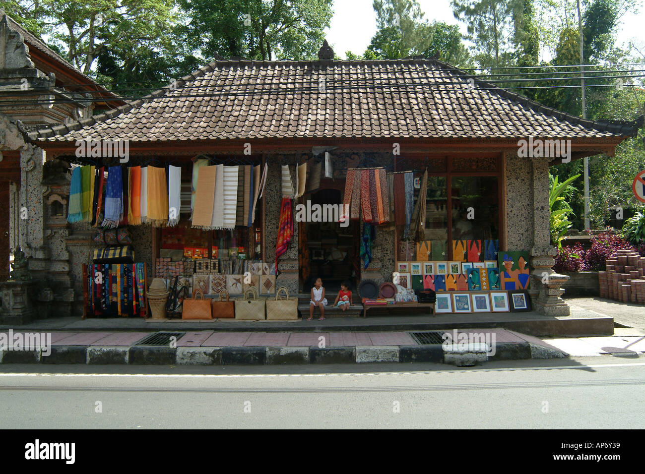 Street Shop Selling Textiles And Handicrafts In Ubud Bali Indonesia