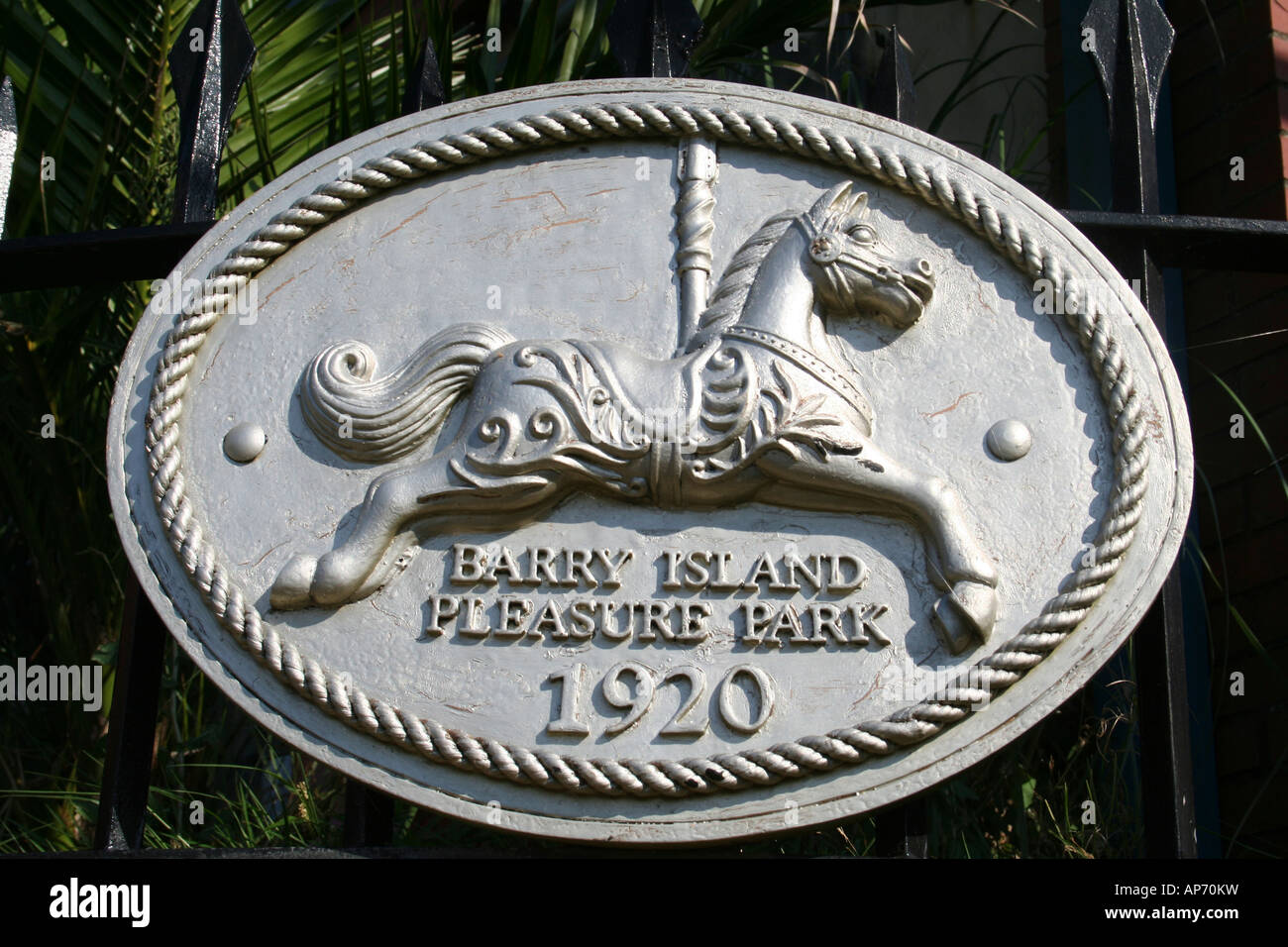 Plaque on Gate Barry Island Funfair - Stock Image