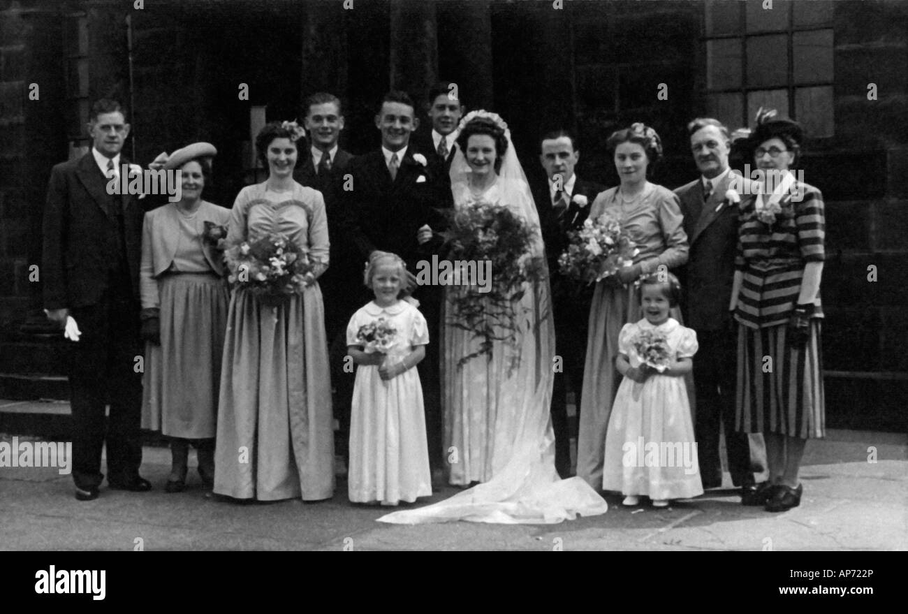 Old Black And White Family Portrait Snap Shot Of Bride And Groom