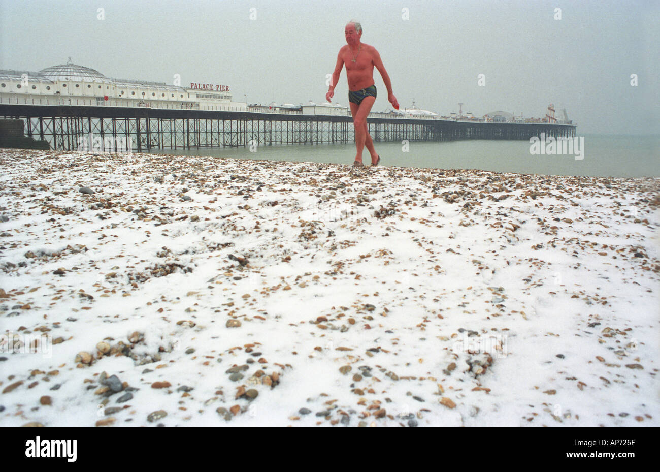 Winter swimmer in Brighton England - Stock Image