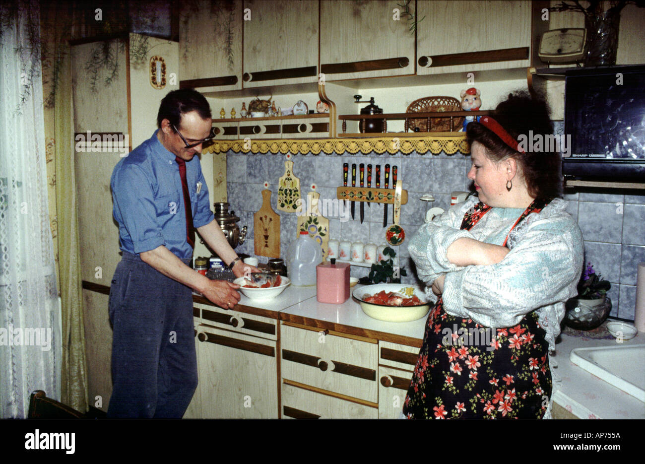 Russian couple in the kitchen