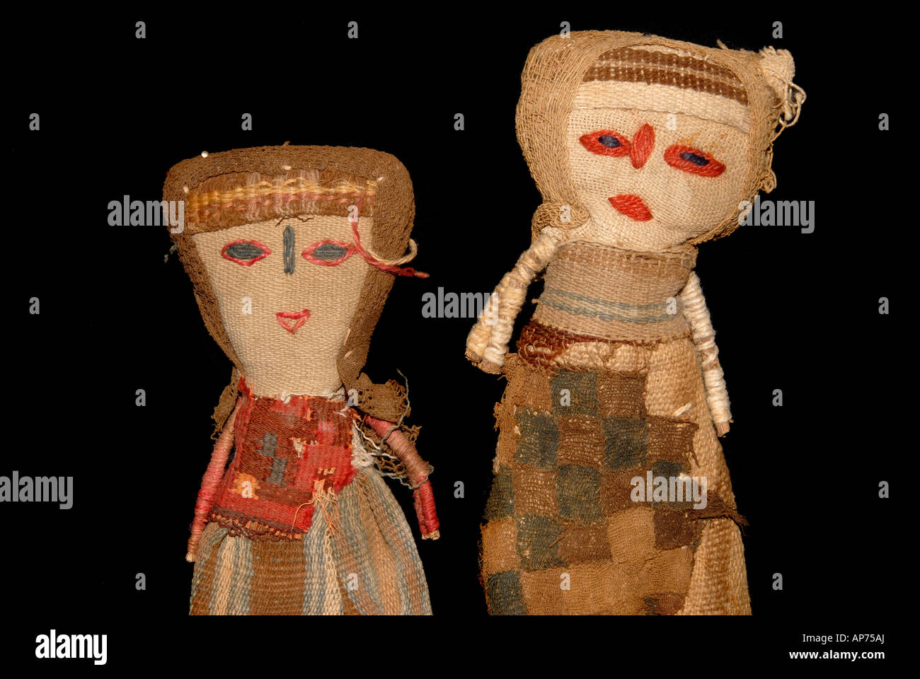 Precolombian fabric used to make doll souvenirs from Per - Stock Image