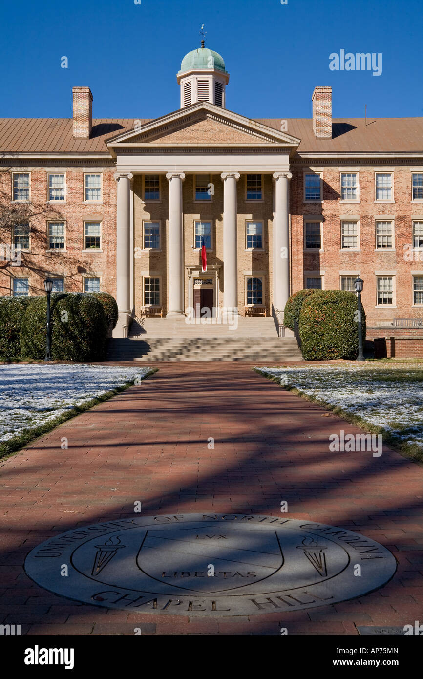 South Building of the University of North Carolina in Chapel Hill UNC with the schools emblem in the foreground Stock Photo