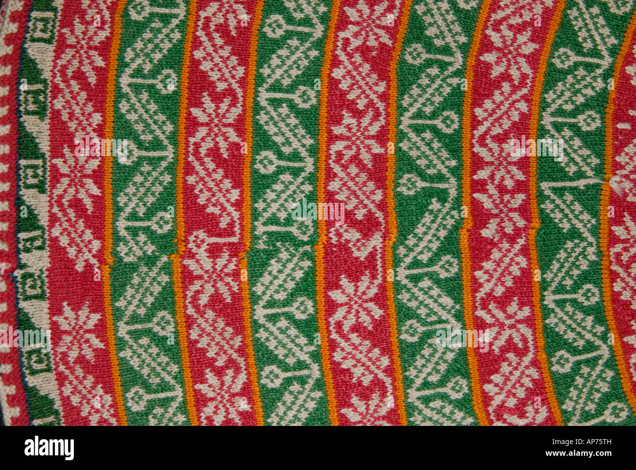 Detail of colourful knitted woollen hat from Taquile Island Lake Titicaca Peru - Stock Image