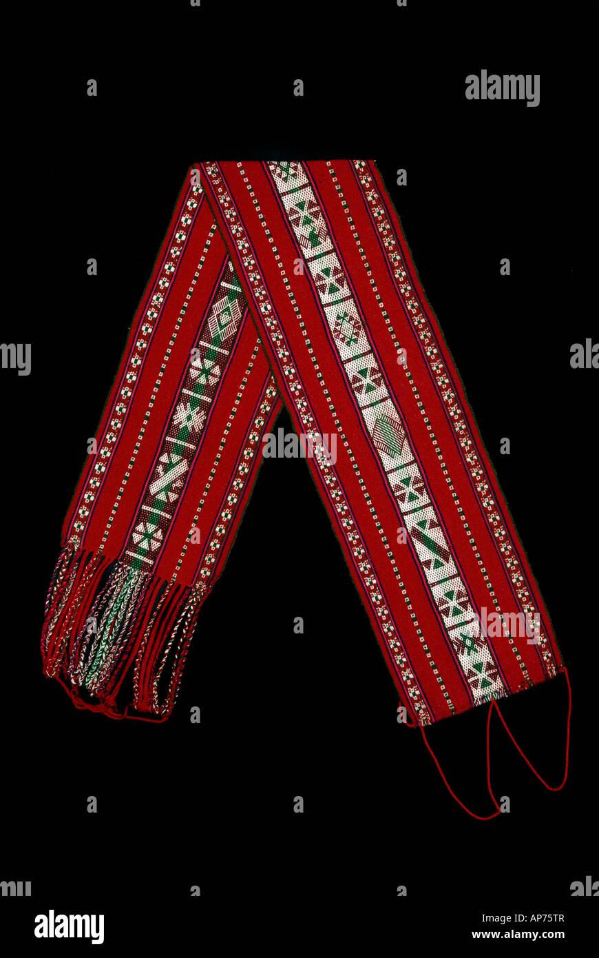 Woven woollen sash belt from Taquile Island Lake Titicaca Peru - Stock Image