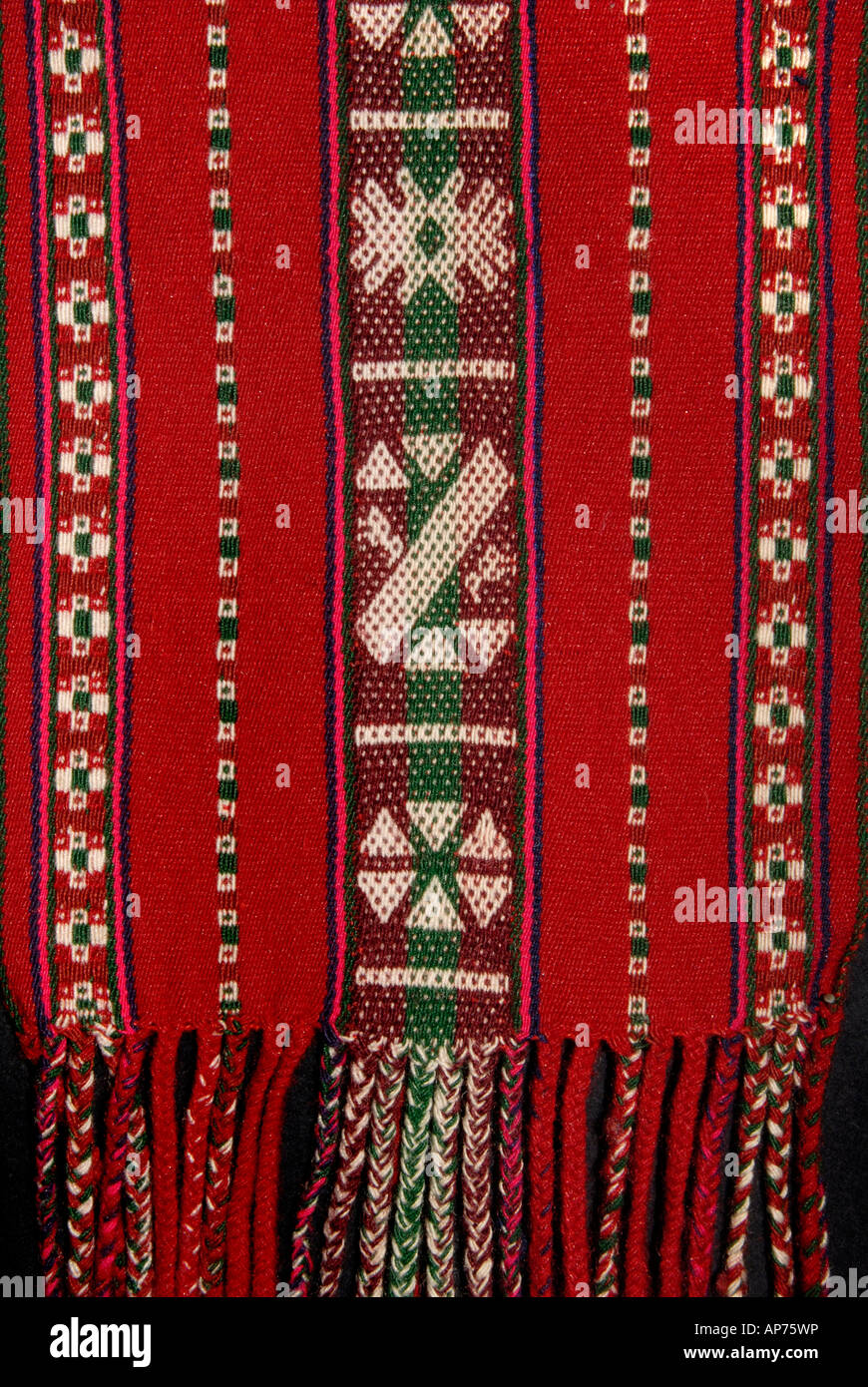 Detail of woven woollen sash belt from Taquile Island Lake Titicaca Peru - Stock Image