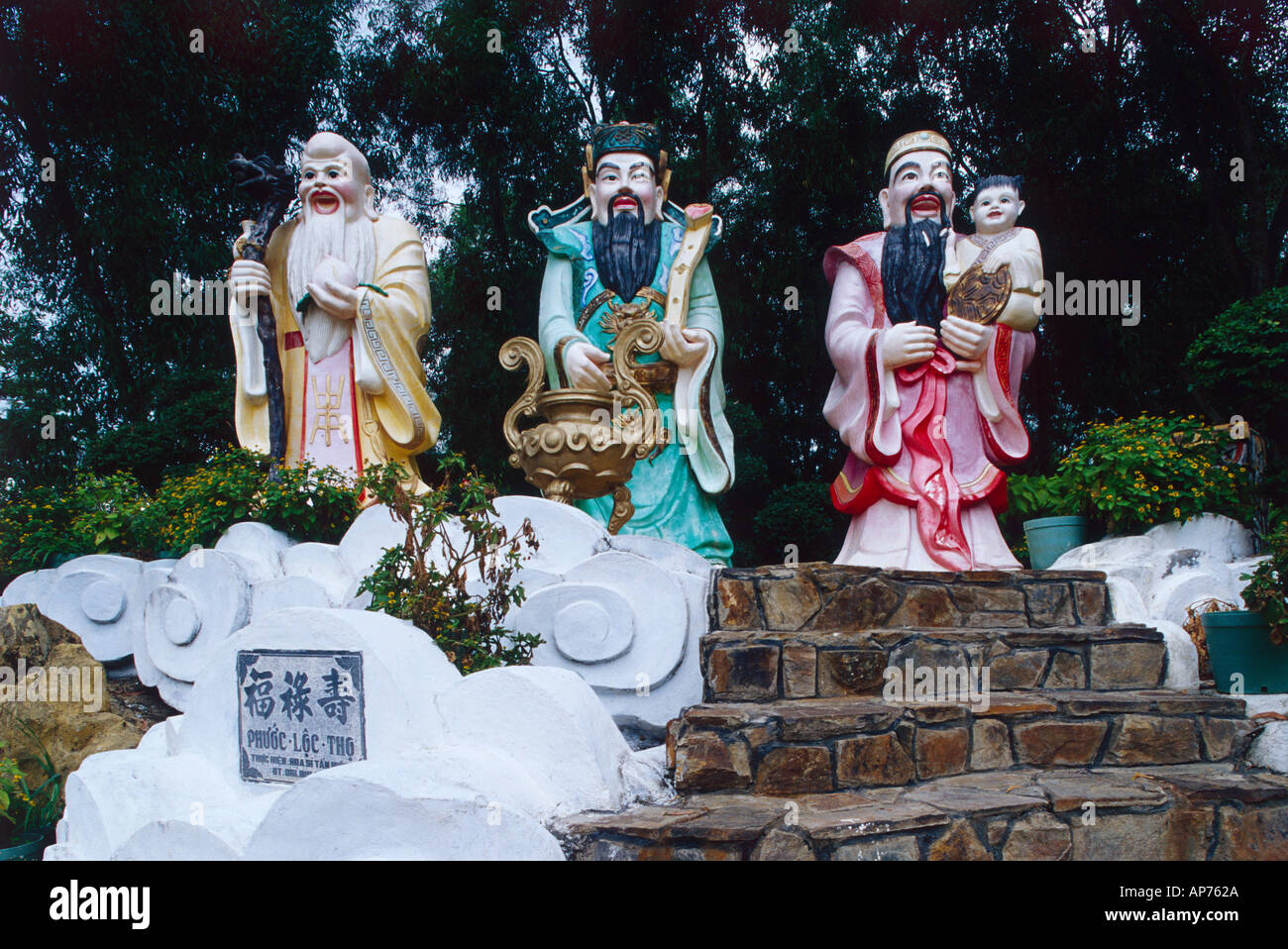 Vietnam Dong Nai Province Buu Long Resort with three well known Chinese figures - Stock Image