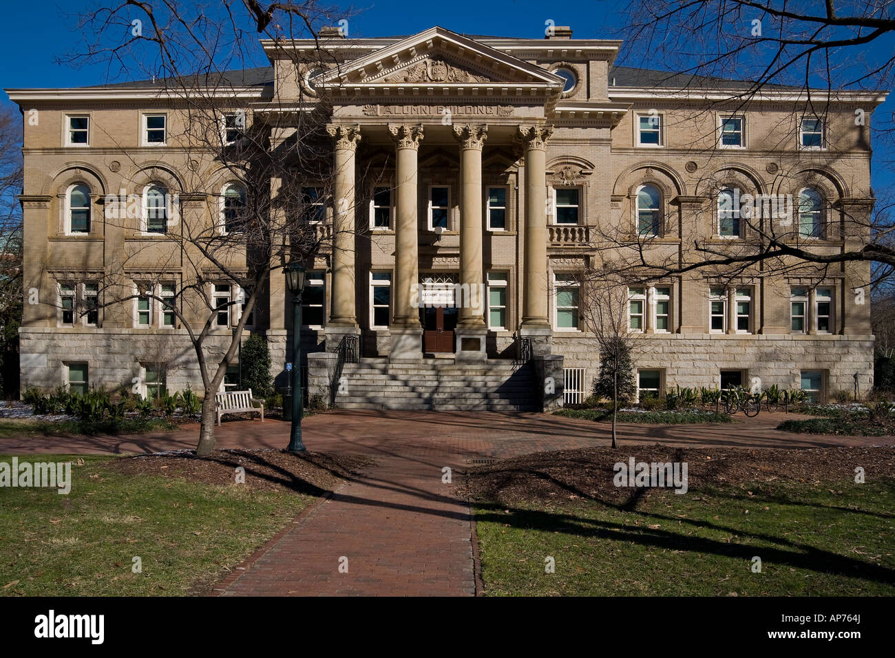 The Front of the Alumni Building of the University of North Carolina in Chapel Hill UNC - Stock Image