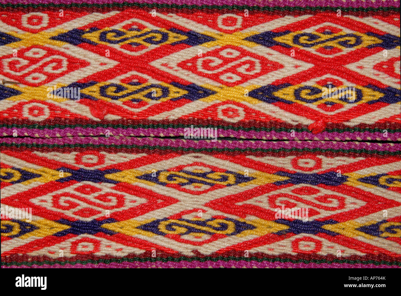 Detail of Andean fabric belts from Peru with geometric motifs Stock Photo