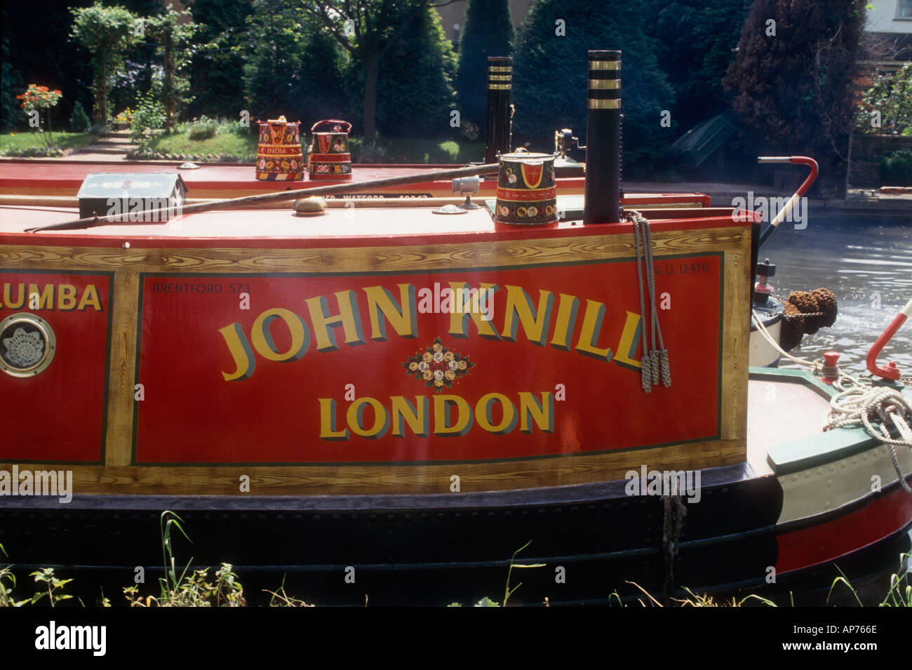The 1935 former Grand Union Canal Carrying Company motor narrowboat Columba as owned by John Knill from London - Stock Image