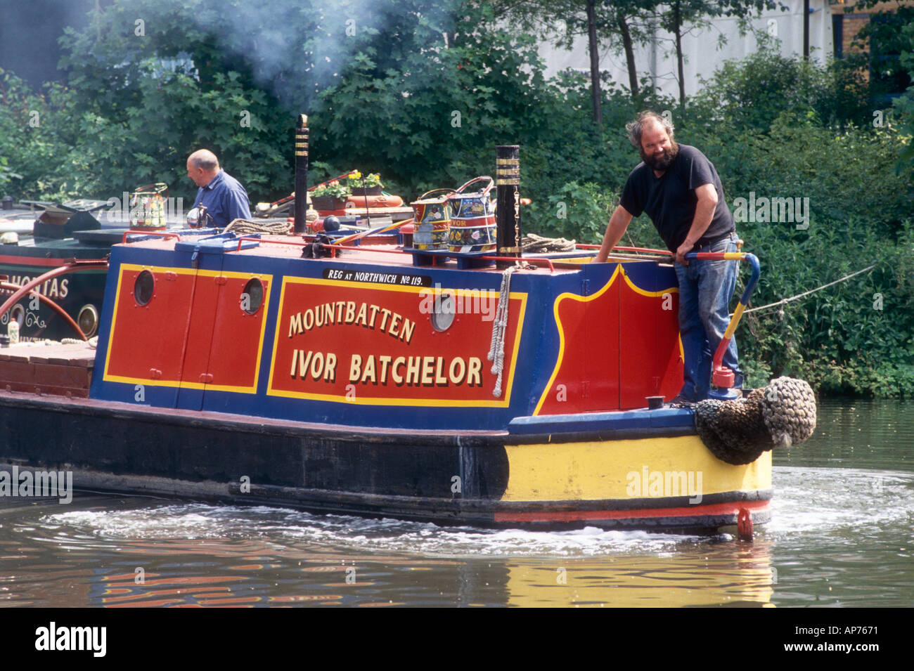 Ivor Batchelors ex FMC Admiralty Class motor narrowboat Mountbatten on the Grand Union Canal at Batchworth in Hertfordshire - Stock Image