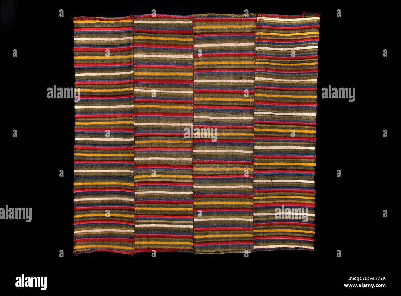 Striped woollen fabric from Tibet - Stock Image