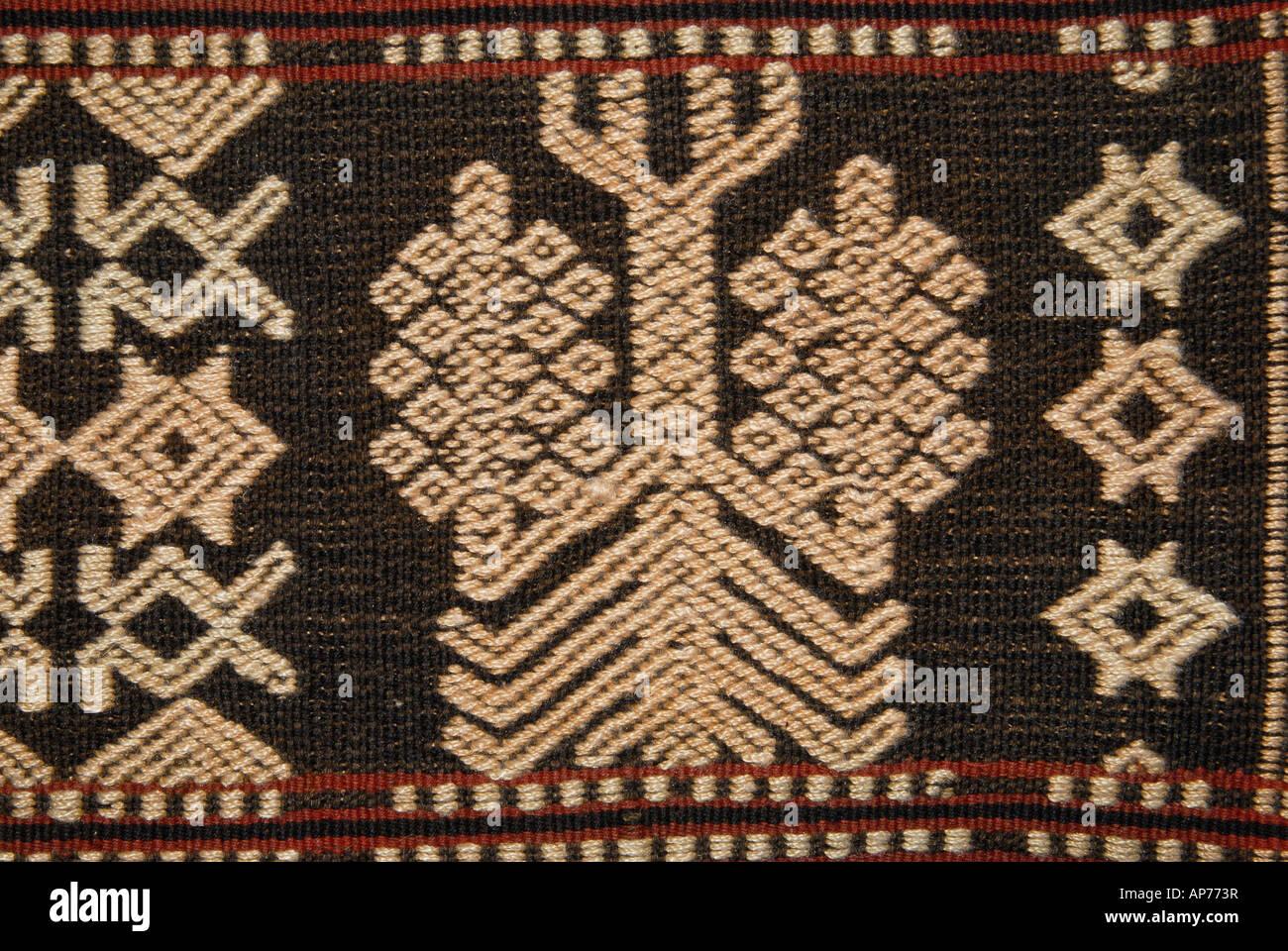 Detail of supplementary warp brocading on a Sumbanese fabric Sumba Indonesia - Stock Image