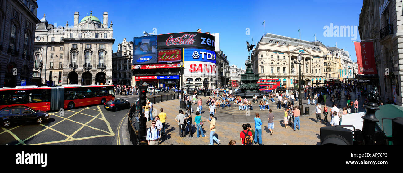 Piccadilly Circus Panoramic London,  very high resolution image taken on a beautiful summer day - Stock Image