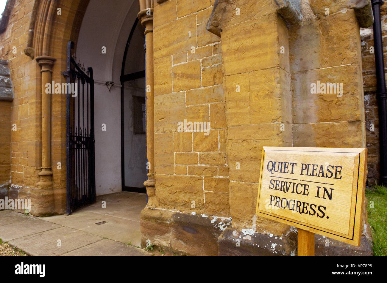 Quiet Please Service In Progress Sign Outside Church Door   Landscape  Orientation