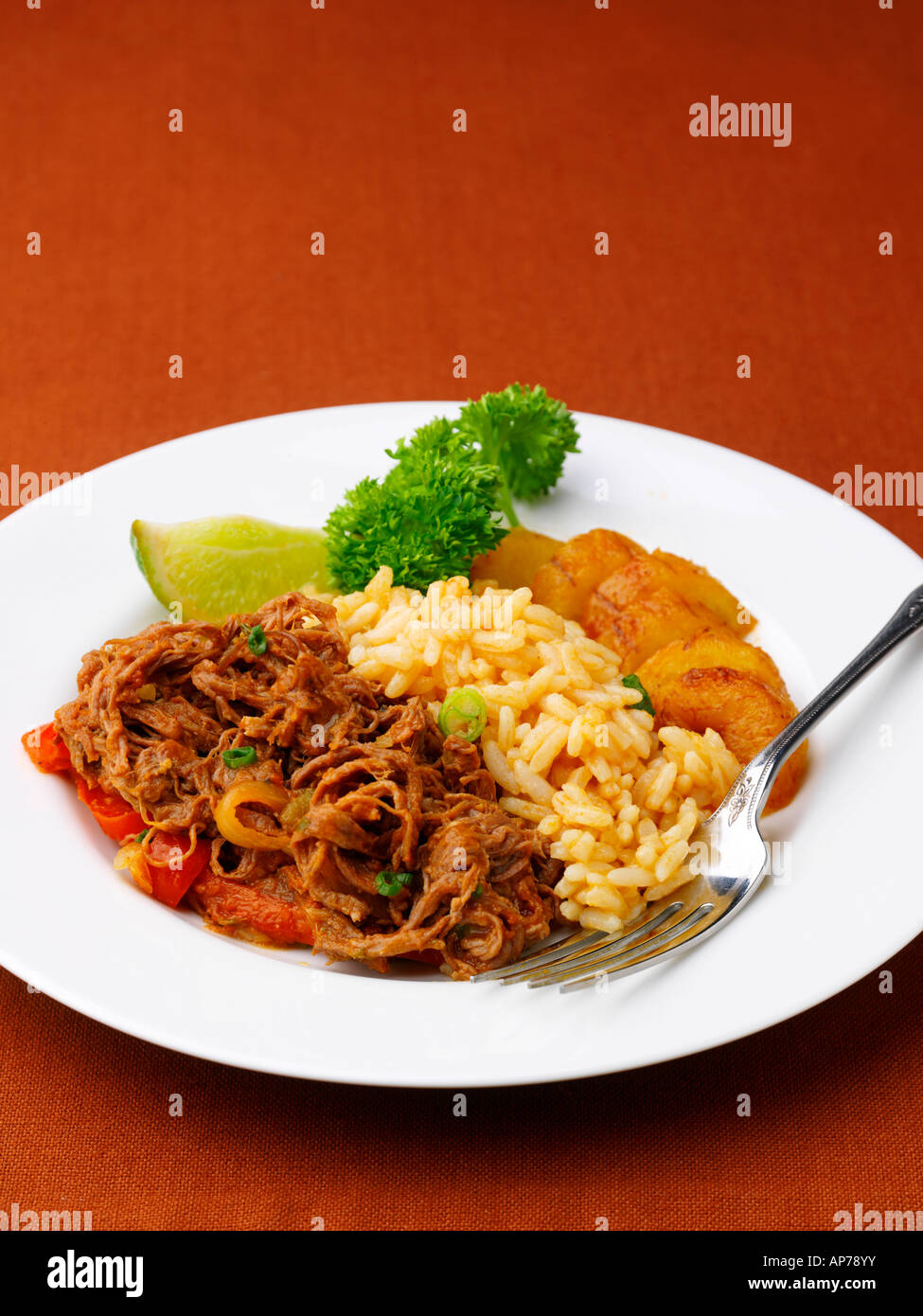 Shredded Flank Steak Ropa Vieja Cuban Food - Stock Image