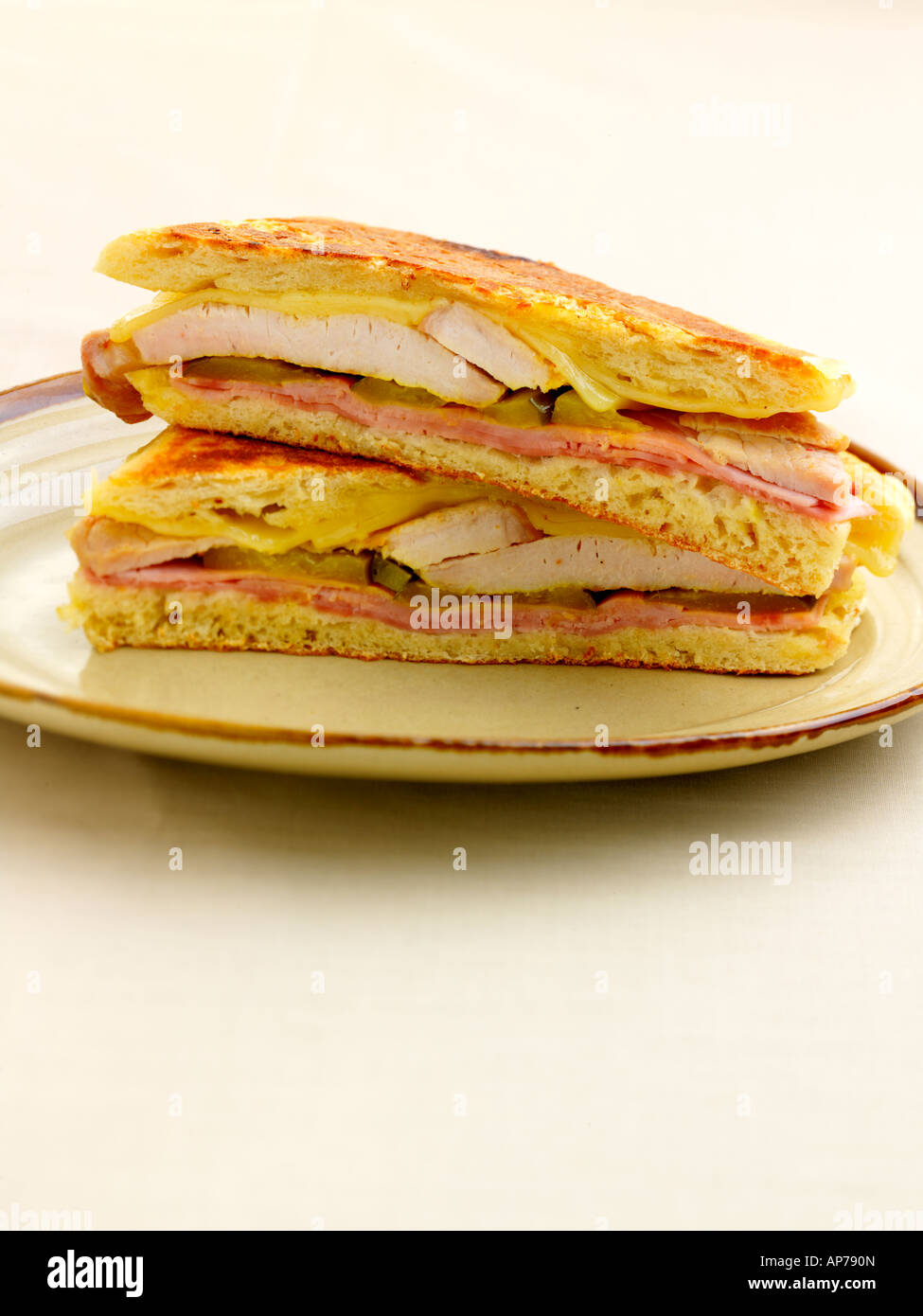 Traditional Cuban Pressed Sandwich - Stock Image