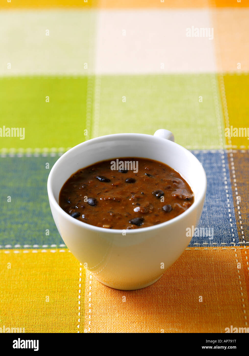 Black Bean Soup Sopa de Frijoles Negros Traditional Cuban Food - Stock Image