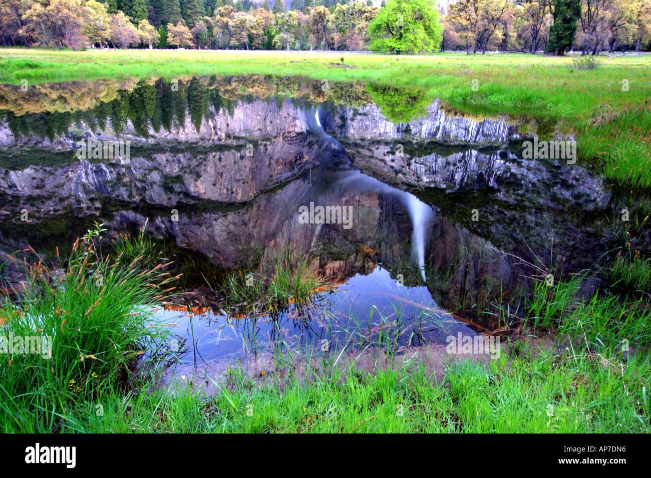 yosemite falls reflection, yosemite national park Stock Photo