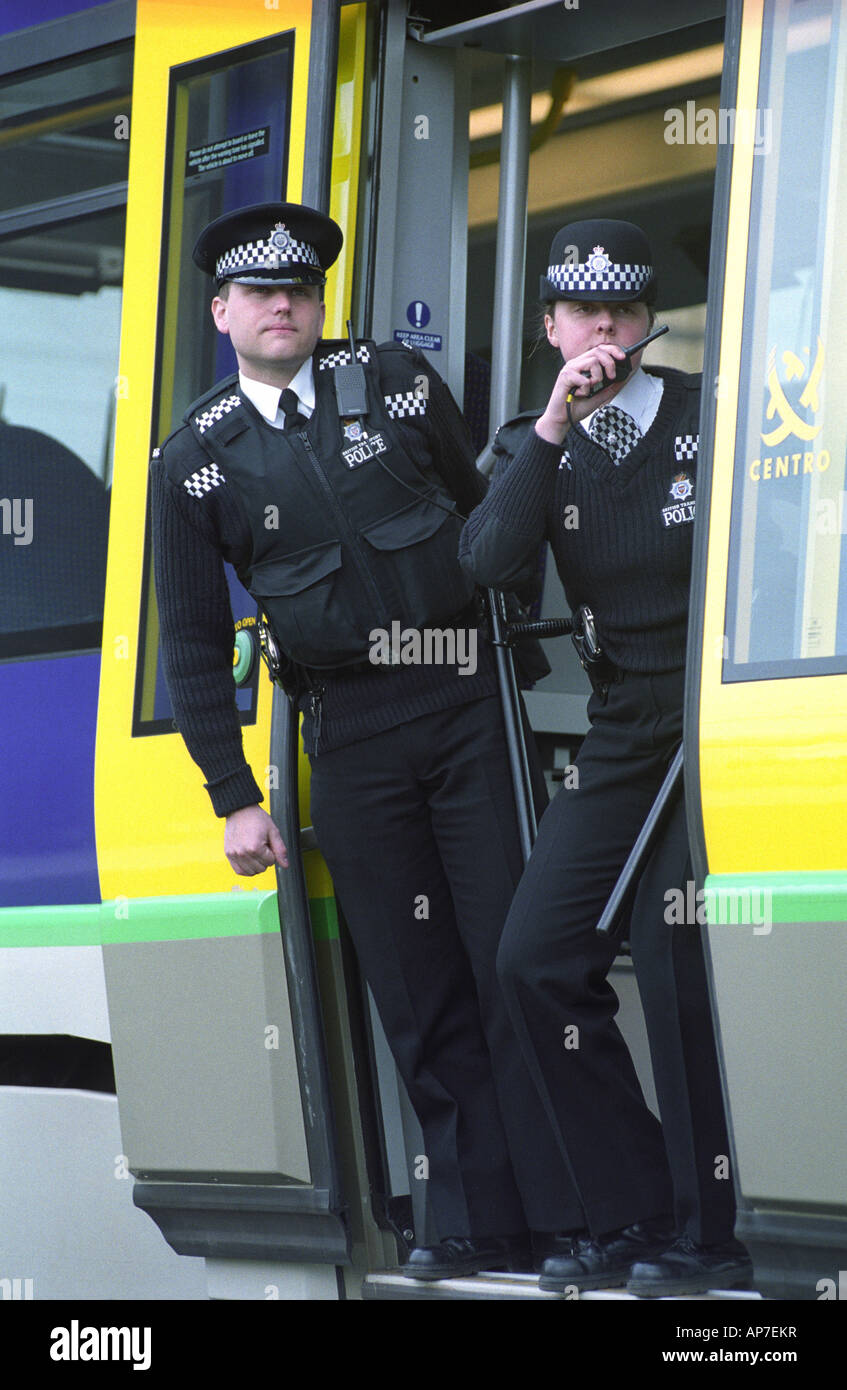 British Transport Police officers operating on the Birmingham Metro Stock Photo