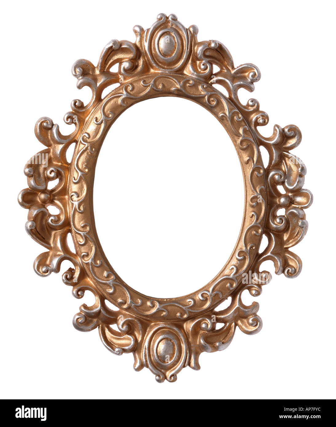 Ornate Oval Picture Frame - Stock Image