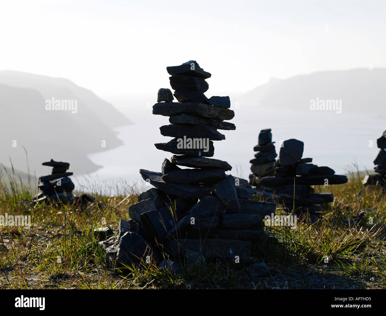 norwegian stone sculptures - Stock Image