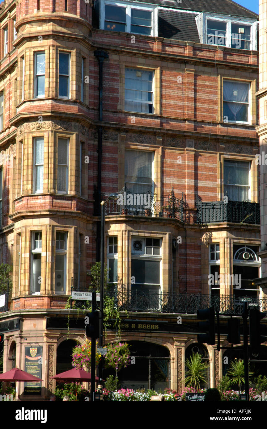 The Audley public house and red brick apartments in Mount Street ...