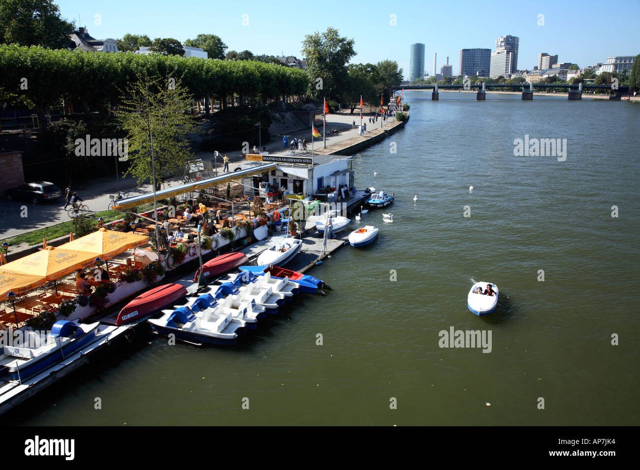 Small boat and pedalo hire on south bank of river Main Frankfurt Stock Photo