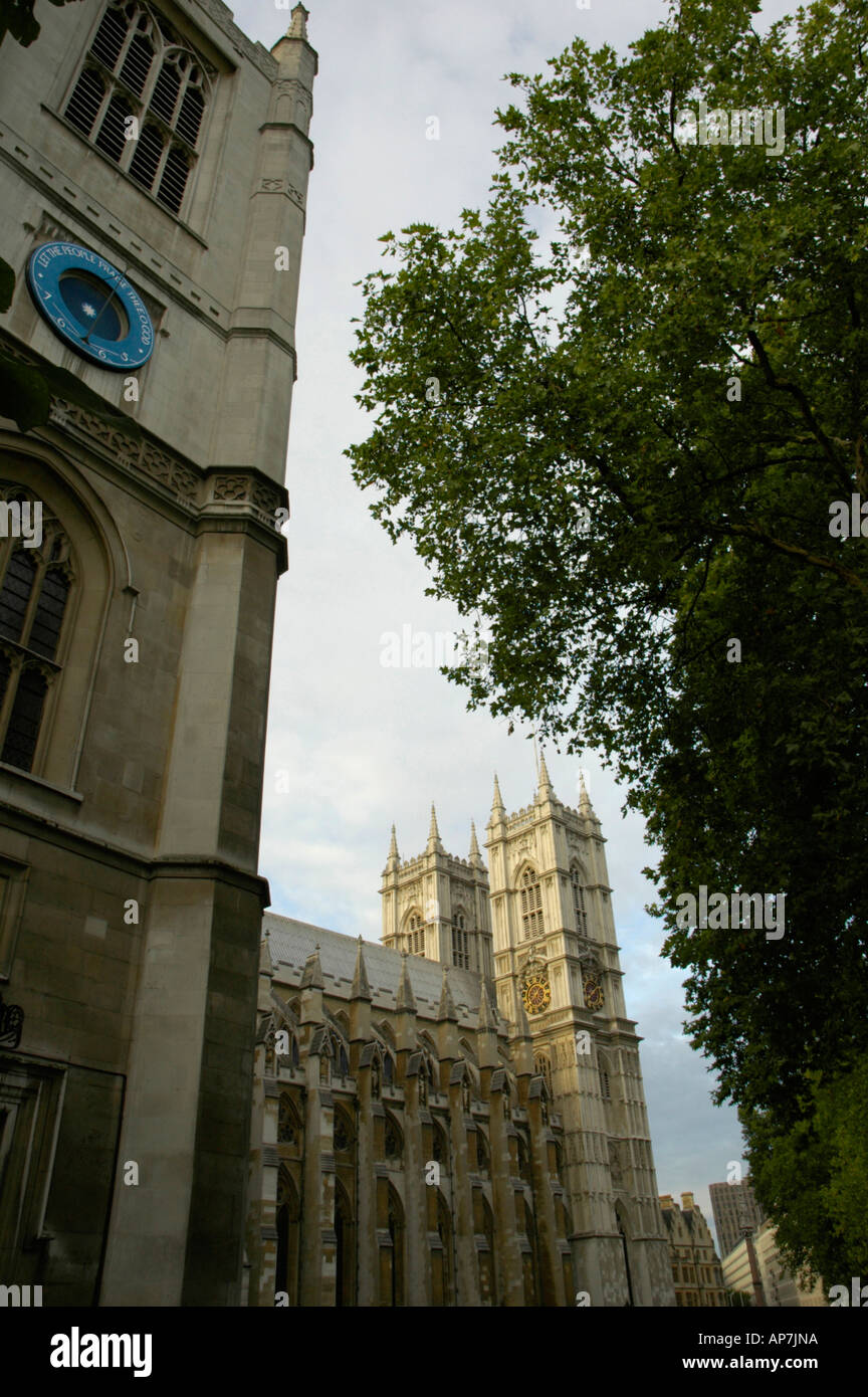 Westminster Abbey with St Margret's Church in the foreground London UK - Stock Image