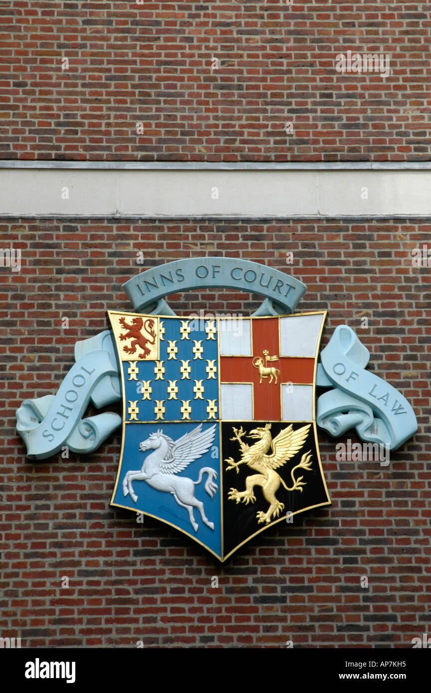 Inns of the Court School of Law emblem Gray's Inn London England - Stock Image
