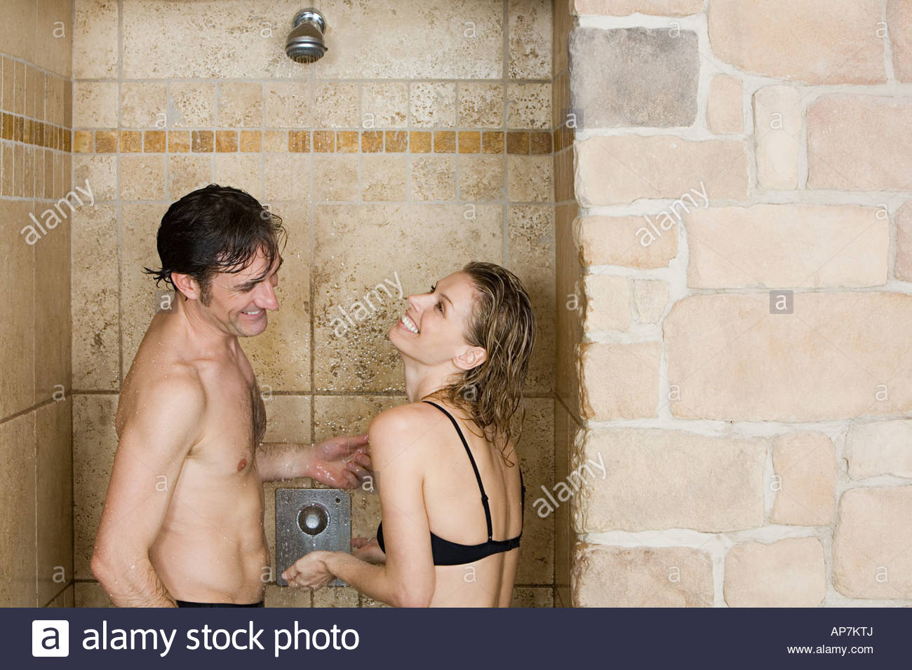 Mature couple in shower