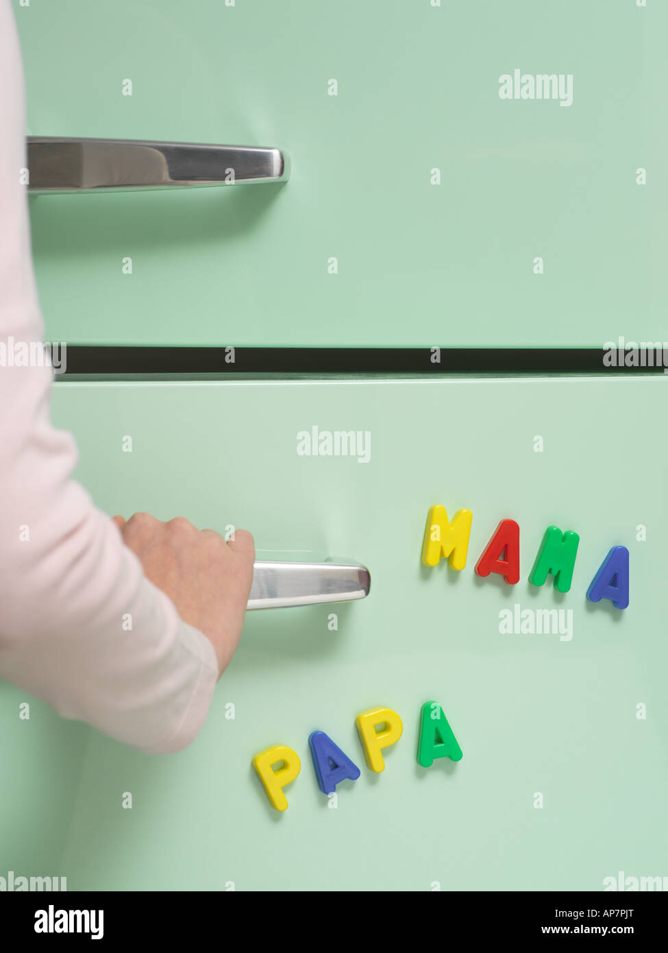 Words written with magnets on refrigerator Stock Photo