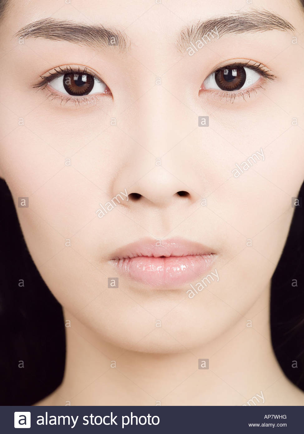 Cropped portrait of a chinese woman - Stock Image