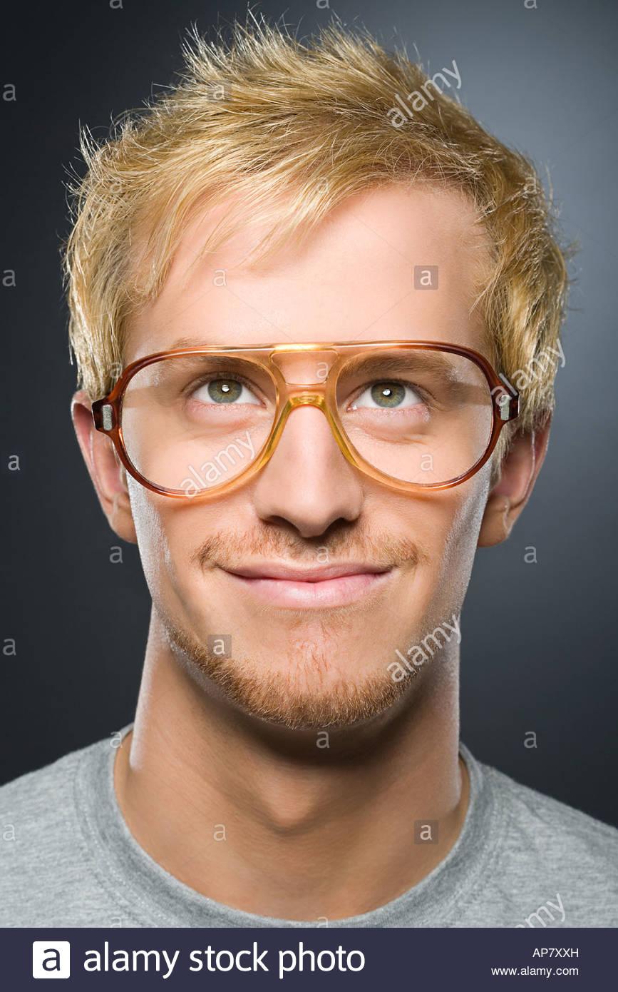 Man wearing glasses - Stock Image