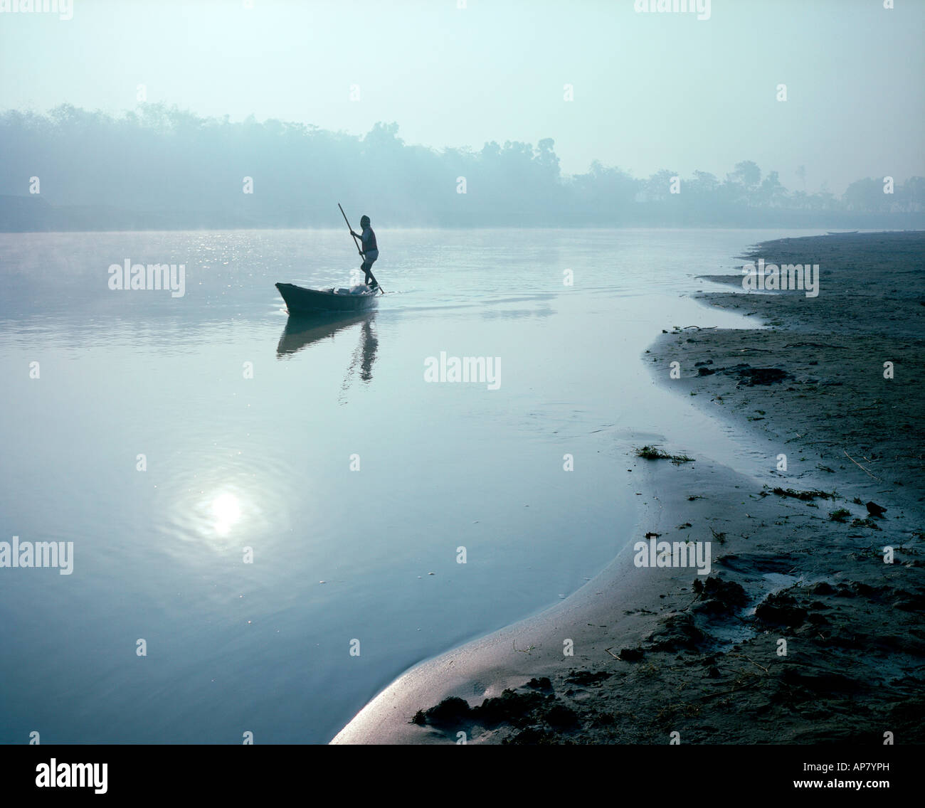 Sunrise on Bogra River, Bangladesh - Stock Image